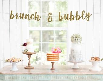 brunch & bubbly banner l Bridal Shower Banner | Bachelorette Party | Brunch Party Banner | Bridal Shower | Brunch Glitter Banner