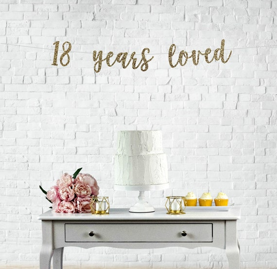 18 Years Loved Glitter Banner 18th Birthday Party