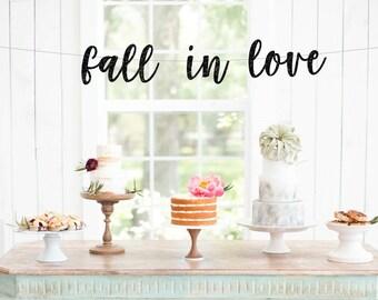 Fall In Love Wedding Banner, Autumn Wedding Ideas, Fall Wedding Garland, Rustic Wedding Decor, Fall Wedding Ideas, Fall Wedding Sign