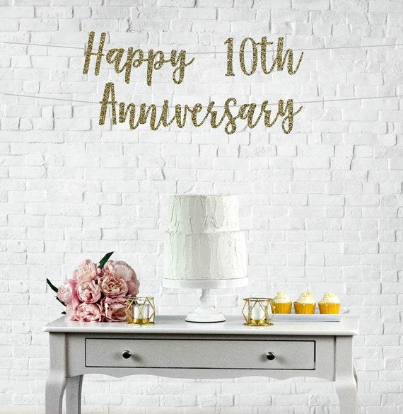 10 Year Wedding Anniversary.10th Anniversary Glitter Banner 10 Years Blessed Cheers To 10 Years 10th Wedding Anniversary Happy 10th Anniversary Banner L 10th
