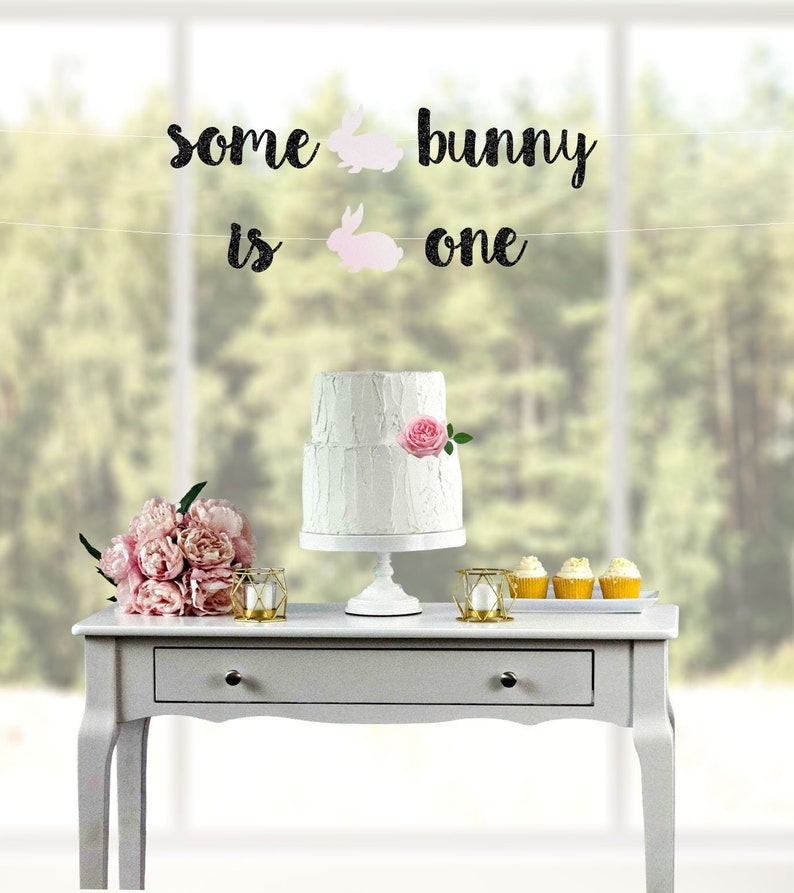 1st birthday banner some bunny is one first birthday 1st birthday easter banner Some Bunny is 1 1st birthday easter birthday banner
