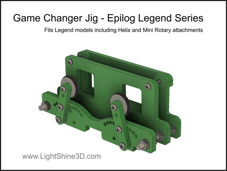 DIGITAL FILE - Game Changer Jig - Epilog Legend Series - Digital file to  create a jig to expand the function of your Epilog laser rotary