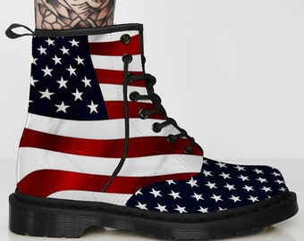 USA, US, American Flag Leather Boots