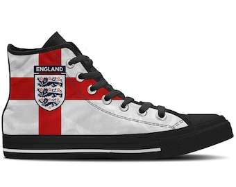 Men s High Top Sneaker with England Flag and Black Soles  England  -  White Red Black ae25e96911