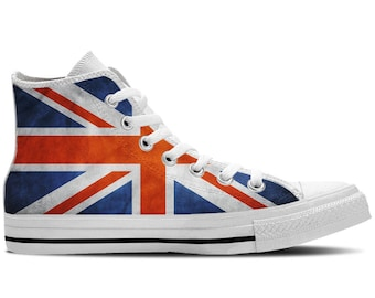 UK Flag British Flag Union Jack Flag - Men s High Top Sneakers   Custom  Canvas Shoes - White a59726f555