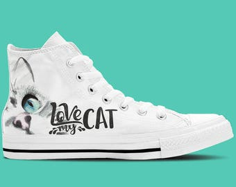 Cat Lovers Shoes - Love My Cat Women's High Top Canvas Sneakers