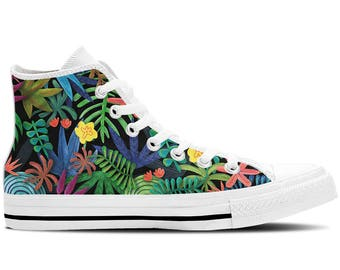 Women's High Top Sneakers, Canvas Shoes with Tropical Floral Flowers Design