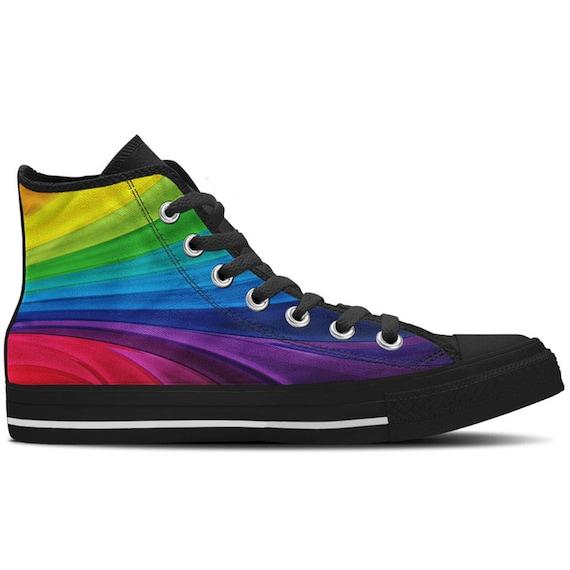 Custom Printed High-Top Sneakers Rainbow Stars