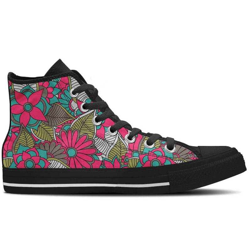 e09028453b243 Women's High Top Sneaker with Floral Design and Black Soles 'Floral  Collage' - Pink/Teal