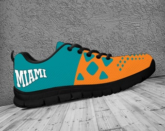 Miami Dolphins Fan Shoes / Trainers / Sneakers - Mens, Womens & Kids - Fan Wear or Fan Gift - Black