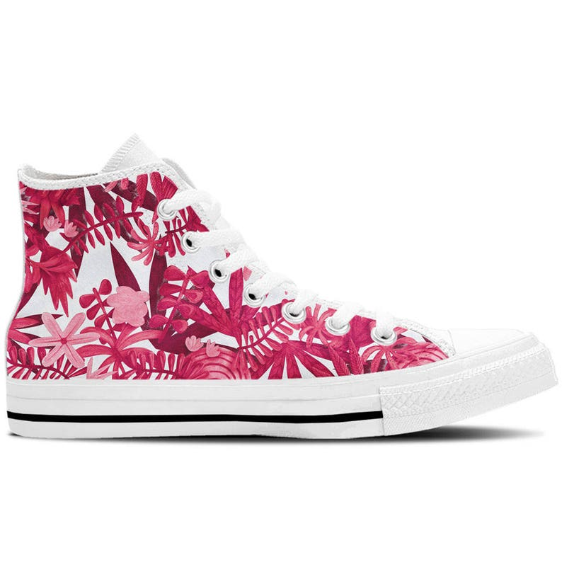 33b3d2649ed67 Women's High Top Sneakers, Canvas Shoes with Pink Floral Flowers Design