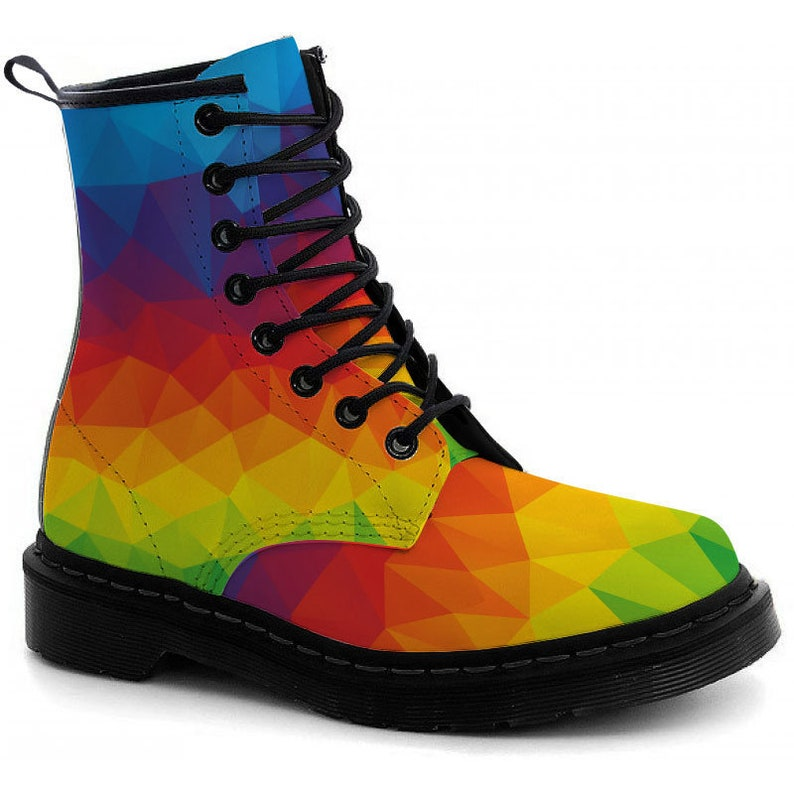Colorful Rainbow Leather Boots image 0