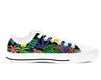 Women's Canvas Shoes / Sneakers with Tropical Colorful Floral Flowers Pattern