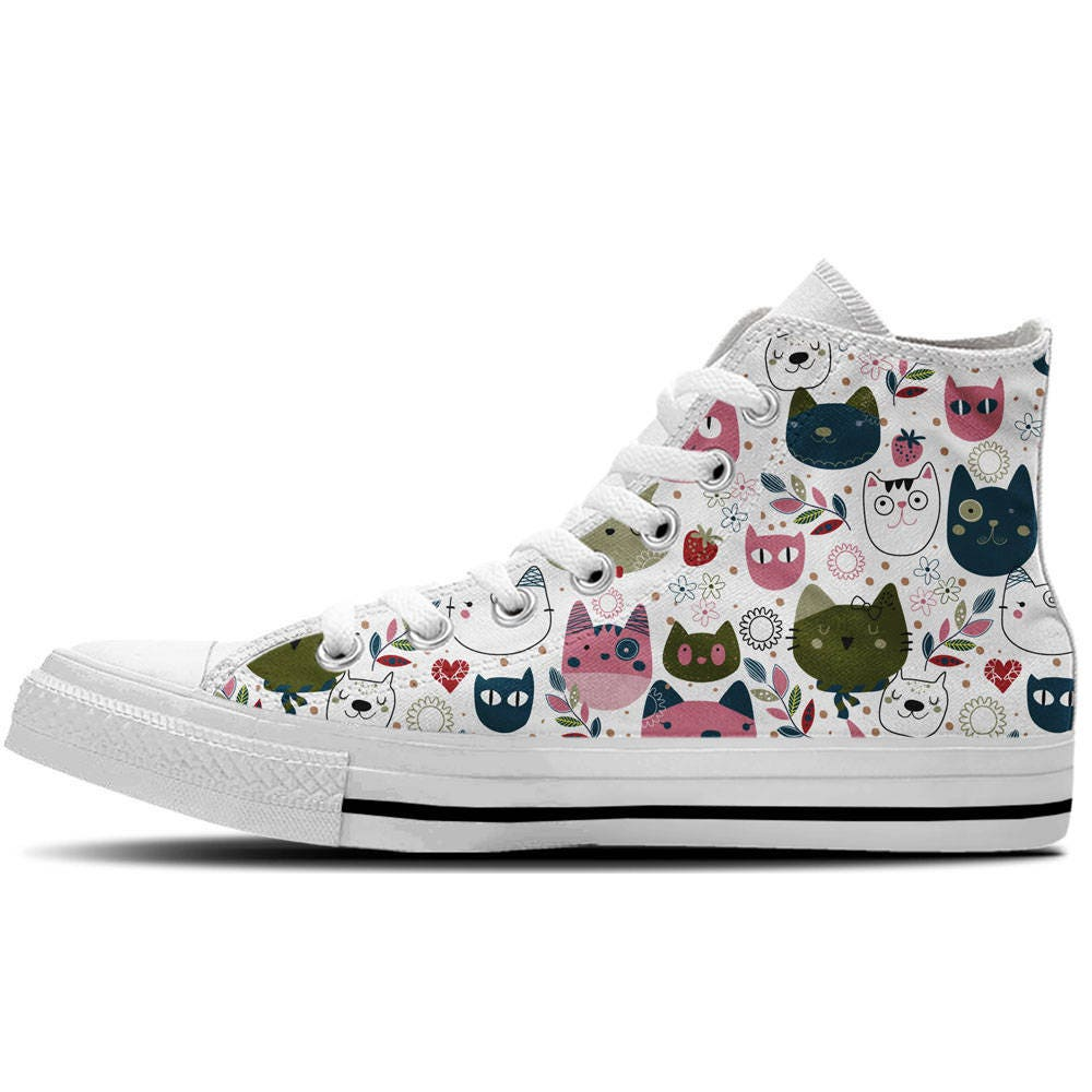 Kitty Cat Zapatos Zapatos Zapatos - Mujer High Top Zapatillas with Cartoon cat patterns c9eea1