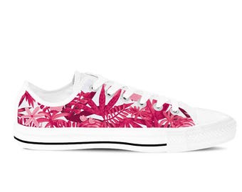 Women's Canvas Shoes / Sneakers with Pink Floral Flowers Pattern