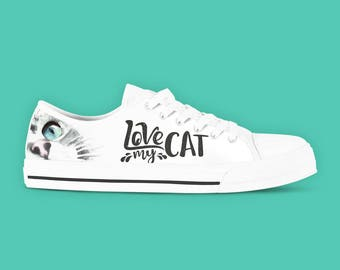 Cat Lovers Shoes - Love My Cat Women's Low Top Canvas Sneakers