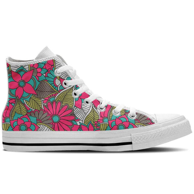 f3005566f99b9 Floral Shoes -Women's High Top Sneaker with Pretty Flowers Design