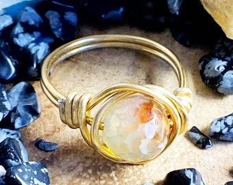 Natural Agate Wire Wrapped Ring Made to Order Handmade Gold or Silver Gemstone Jewelry