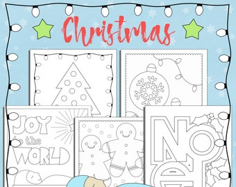 Christmas Coloring Pages Holiday Printables Kids Activities Five Designs PDF