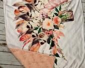 Boho Native American Headdress Minky Blanket Watercolor Floral Headdress Baby Girl Blanket