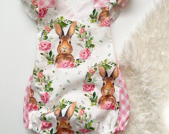 NWT Easter Bunny Rabbit Baby Girls Sleeveless Ruffle Romper Jumpsuit Sunsuit