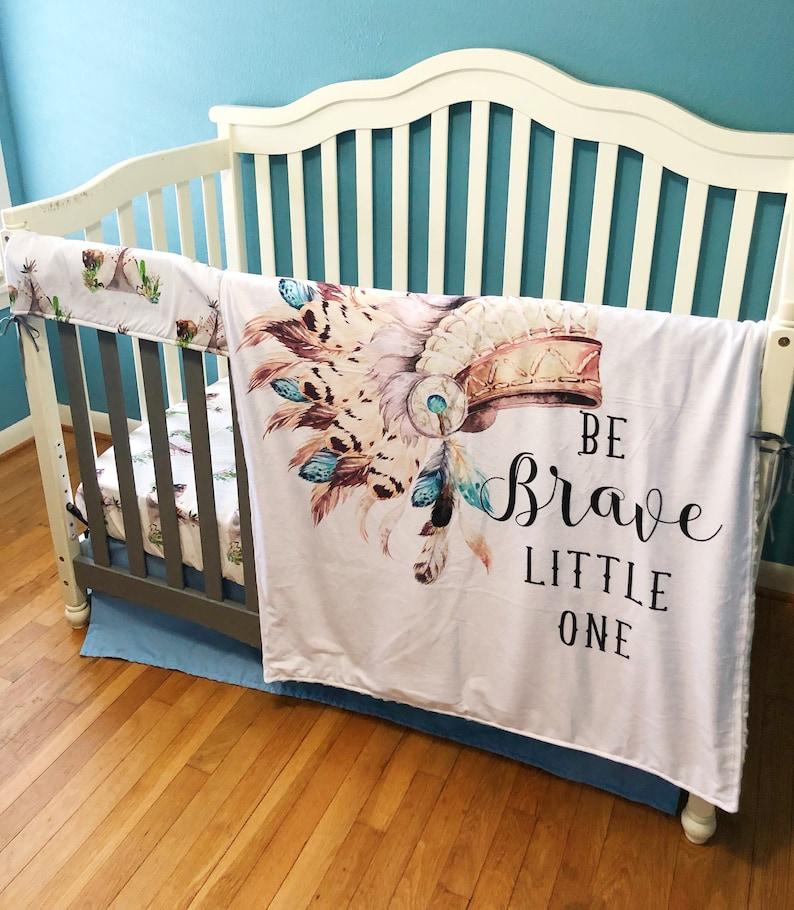 Brave Little One Native American Headdress Crib Bedding Teepee /& Bear Baby Boy Bedding Collection