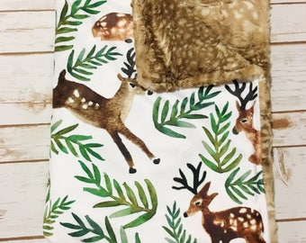 Woodland Deer Faux Fur Blanket