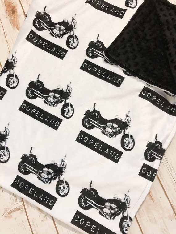 Embroidered Motorcycle Motorcycle Personalized Minky Baby Blanket Navy Red Minky
