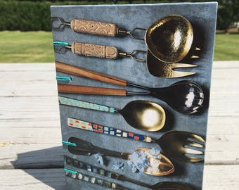 Coptic Bound Journal Sketchbook - Spoons and plates