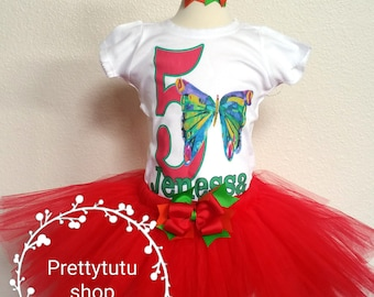 Caterpillar Birthday tutu Butterfly Pink mint gold Includes embroidered top and ruffled tutu Can be made to match your party colors