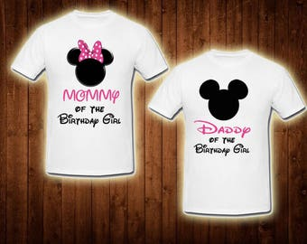 Family Shirts Pink Minnie Mouse Birthday Theme Mom Of The Girl Dad