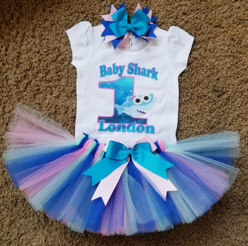dfda35d7d Inspired by baby shark birthday tutu | Etsy