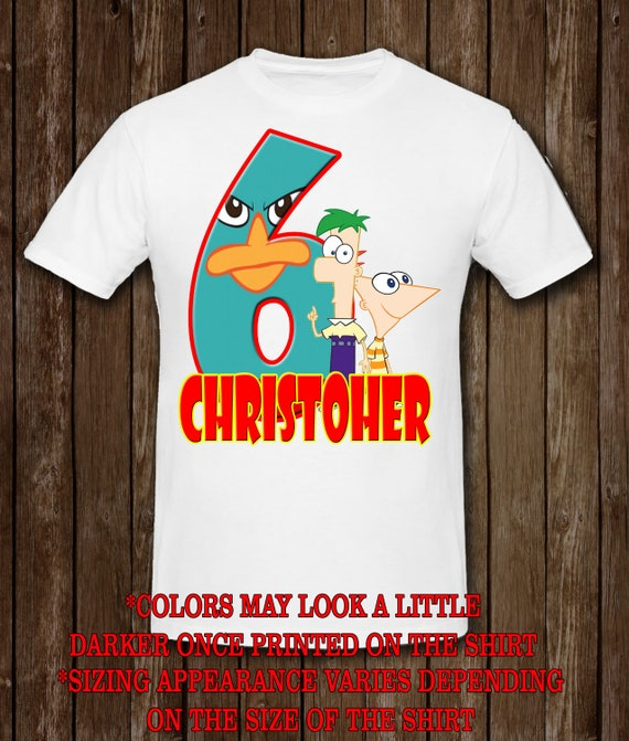 NEW Phineas and Ferb Personaliz​ed Birthday Party Favor Gift T-Shirt