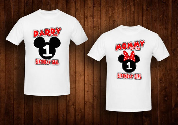 Family Shirts Red Bow Minnie Mouse Birthday Theme Mom Of The