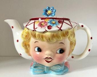 Lefton Miss Dainty Teapot/Miss Dainty/Vintage Teapot/Kitschy Decor/Polka Dot/Ceramic Girl Teapot