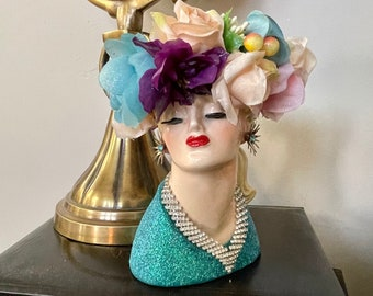 Napco Lady Head Vase/Vintage Head Vase/Vintage Headvase/Glamourous dolled up Head Vase/Vintage Jewelry/Plastic Flowers/Head Planter/Vase