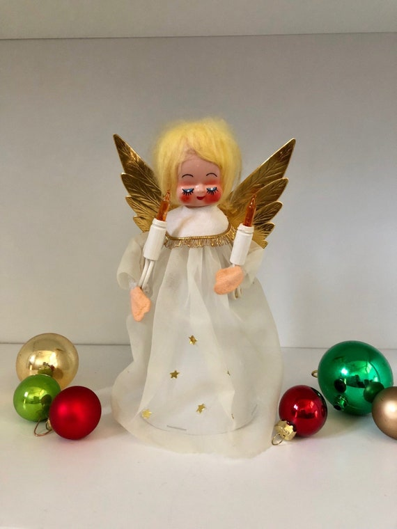Vintage Angel Vintage Christmas Angel Topper Gold Wings Angel Tree Topper Vintage Christmas Topper
