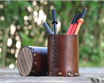 Genuine Leather Wooden Pen Container