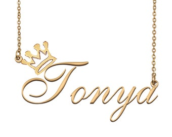 Tonya Name Necklace with Crown, Name Necklace Gold, Custom Name Necklace, Christmas Gift, Birthday Gift for Kids Her