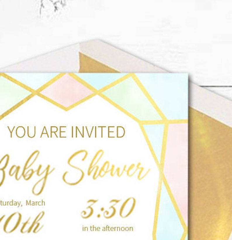 Personalized Invites kimenink Girl Baby Shower Faux Gold Baby Shower Invitation Boy Baby Shower Geometric Design