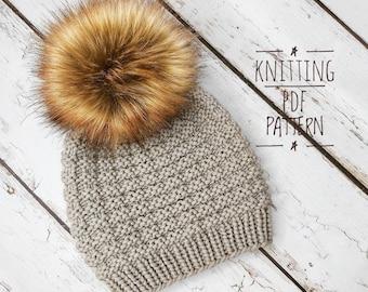 BEANIE KNIT PATTERN, Melodie Beanie, Knit Hat Pattern, Easy Knitting Pattern, Womens Hat Pattern,