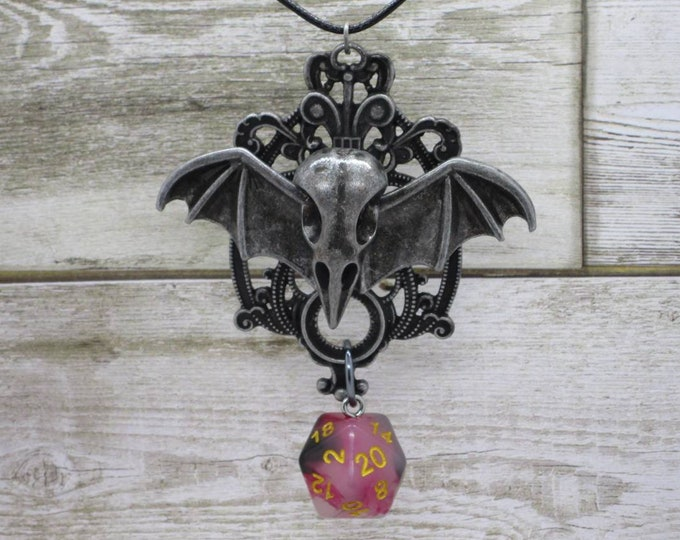 Necromancer's Crest Nat 20 Pendant - Dungeons and Dragons Pendant - D&D Dice - Dice Pendant