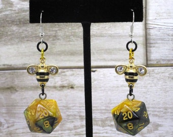 Bee20 Nat 20 Earrings - D20 Earrings - D&D Earrings - DND Earrings - DnD Dice - Dice Earrings - Bumblebee Charm