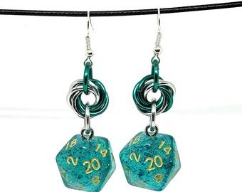 Ocean Teal Glitter Nat 20 Earrings - D20 Earrings - D&D Earrings - DND Earrings - Dice Earrings