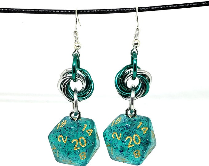 Ocean Teal Glitter Nat 20 Earrings - D20 Earrings - D&D Earrings - DND Earrings - Dice Earrings