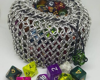 MADE TO ORDER Silver Behemoth Chainmaille Dice Sack | High Capacity | Giant Bag - Chainmail