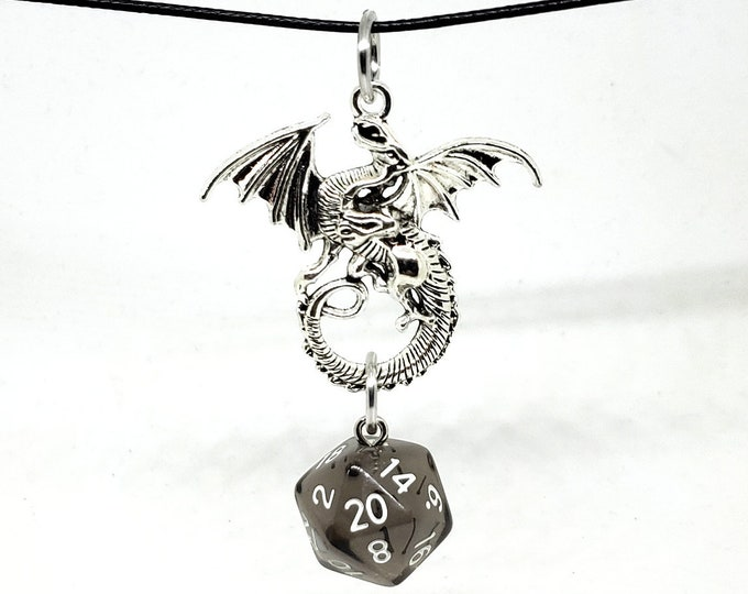 Silver Tone Dragon Translucent Black Nat 20 Pendant - Dungeons and Dragons Pendant - D&D Dice - Dice Pendant
