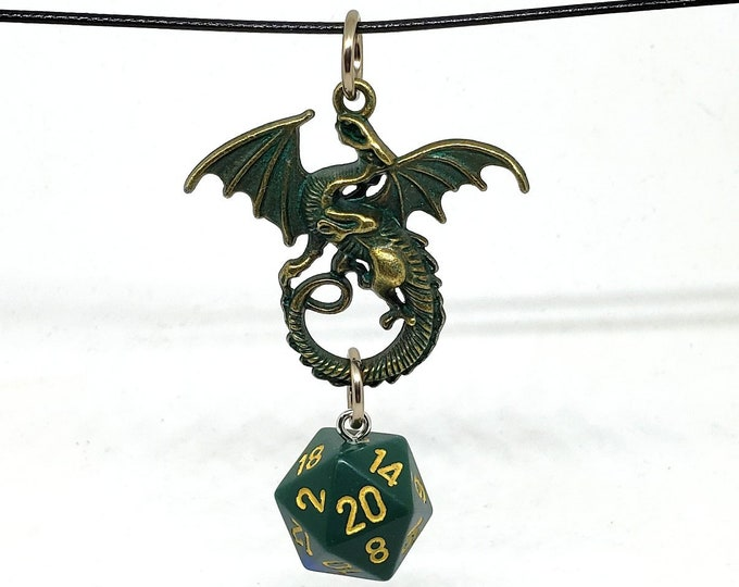 Ancient Dragon Green + Blue Nat 20 Pendant - Dungeons and Dragons Pendant - D&D Dice - Dice Pendant