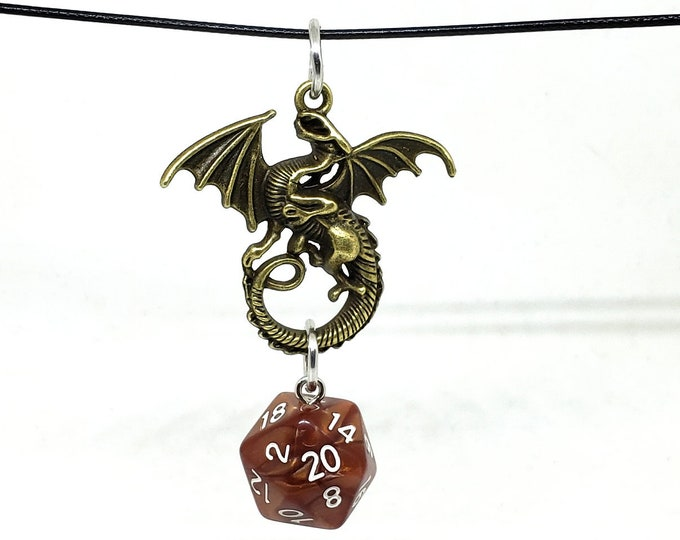Bronze Tone Dragon Brown Shimmer Nat 20 Pendant - Dungeons and Dragons Pendant - D&D Dice - Dice Pendant