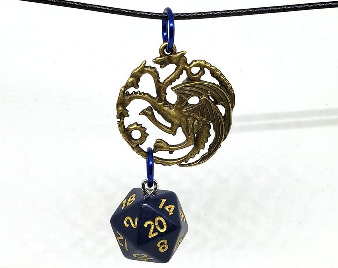 Bronze Tone Three Headed Dragon Navy Blue Nat 20 Pendant - Dungeons and Dragons Pendant - D&D Dice - Dice Pendant